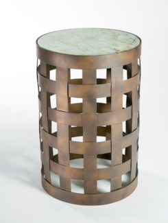 Basket Pattern Accent Table in Bronze with Glass Top in Wrinkled Linen