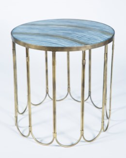 Looped Side Table in Antique Brass with Top in Cheers Finish