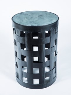 Basket Pattern Accent Table in Black with Glass Top in Gray Matters Finish