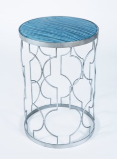 Retro Pattern Accent Table in Antique Silver with Glass Top in Graphite Finish