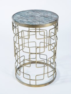 Grid Pattern Accent Table in Antique Brass with Glass Top in Concord Finish
