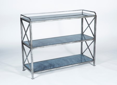 3 Tier X Pattern Console in Antique Silver with Glass Shelves in Gray Matters Finish