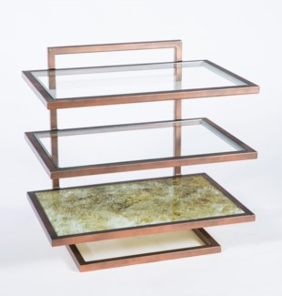 Hugo Accent Table in Antique Copper with Top in Caesar Finish and Clear Glass Shelves