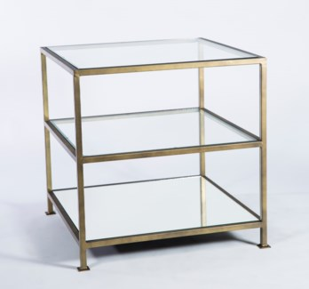 3 Tier Square Accent Table with Mirrored Top and Clear Glass shelves