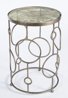 Circles Accent Table in Antique Brass Finish with Top in Adobe Dust Finish