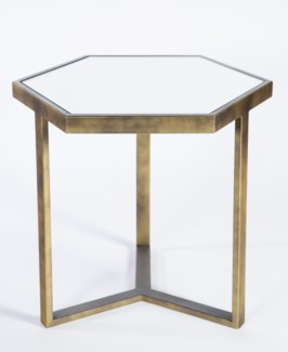 Hexagonal Accent Table in Gold Leaf with Mirrored Top