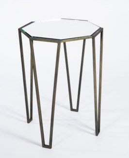 Pointed Leg Accent Table in Antique Bronze with Mirrored Top