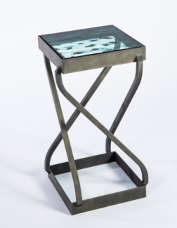 Twist Accent Table in Antique Bronze with Top in Hematite Finish