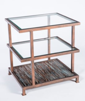 Darren Side Table in Antique Copper with Top in Graphite Finish and Clear Glass Shelves