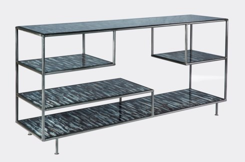 Silas Console Table in Black with Glass shelves in Solstice Finish