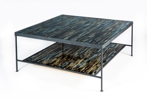 Sylvia Coffee Table in Black with Glass Shelves in Solstice Finish