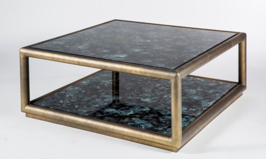 Hamilton Coffee Table in Antique Silver with Shelves in Galaxy Storm Finish
