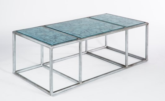 Porter Cocktail Table in Antique Silver with Glass Shelves in Crucible Finish
