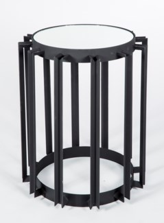 Weston Accent Table in Black with Mirrored Top