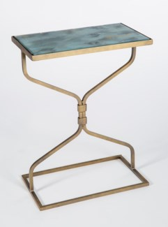 Cole Accent Table in Antique Gold with Glass Shelves in Smooth Stone Finish