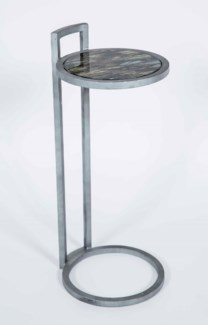 Jeffrey Accent Table in Antique Silver with Shelf in Solstice Finish
