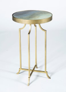 Gloria Accent Table in Antique Brass with Solid Amythest Glass Finish