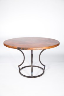 "Charles Dining Table with 48"" Round Hammered Copper Top"