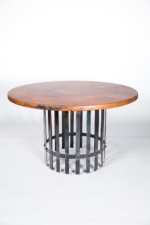 """Ashton Dining Table with 48"""" Round Hammered Copper Top"""