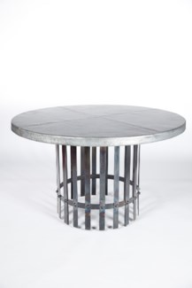 """Ashton Dining Table with 48"""" Round Hammered Zinc Top"""