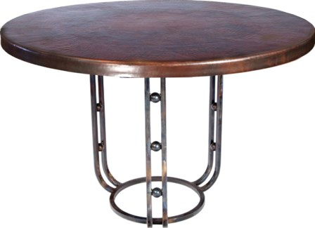 """Clayton Dining Table with 48"""" Round Dark Brown Hammered Copper Top"""
