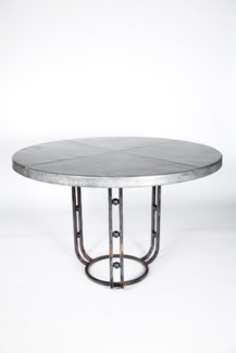 """Clayton Dining Table with 48"""" Round Hammered Zinc Top"""