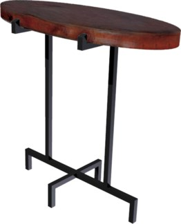 Oval Accent Table with Dark Brown Hammered Copper Top
