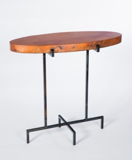 Oval Accent Table with Hammered Copper Top