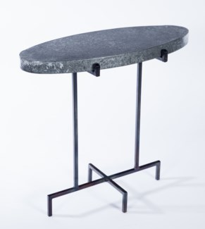 Oval Accent Table with Hammered Zinc Top