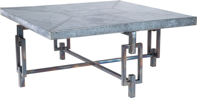 Elliot Square Cocktail Table with Square Hammered Zinc Top
