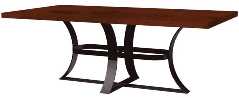 "Avery Dining Table with 72"" x 44"" Rectangle Natural Hammered Copper Top"