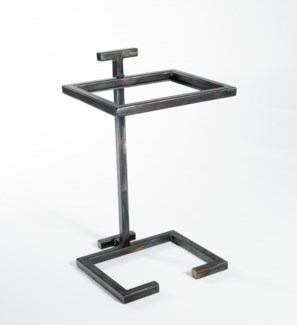 Iron Accent Table with Glass Top.