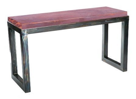 Chester Console Table with Natural Hammered Copper Top