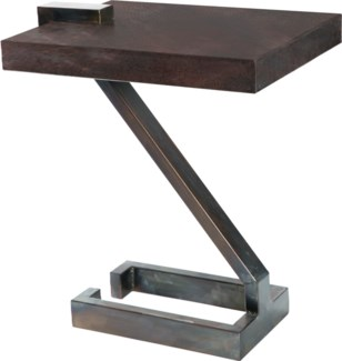Z Accent Table with Dark Brown Hammered Copper Top