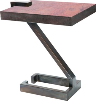 Z Accent Table with Natrual Hammered Copper Top