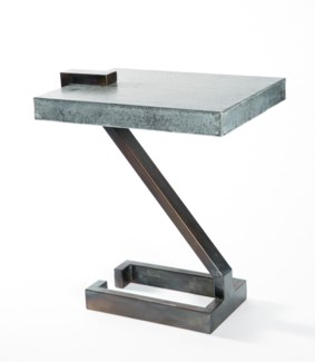 Z Accent Table with Hammered Zinc Top