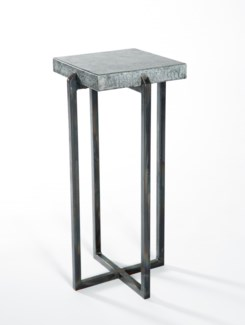 Square Accent Table with Hammered Zinc Top