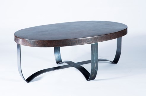Round Strap Coffee Table with Dark Brown Hammered Copper Top