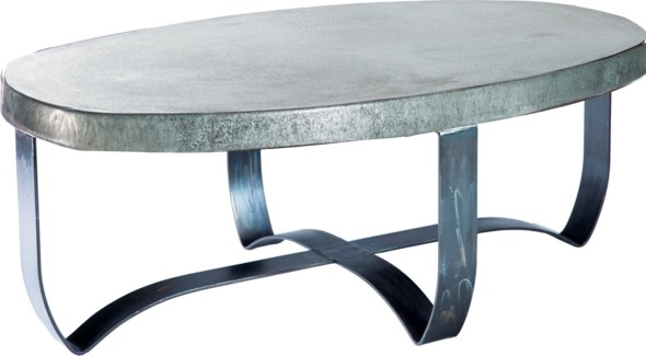 Round Strap Coffee Table with Hammered Zinc Top