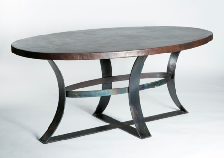 "Avery Dining Table with 84"" x 44"" Oval Dark Brown Hammered Copper Top"
