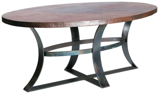 "Avery Dining Table with 84"" x 44"" Oval Hammered Copper Top"