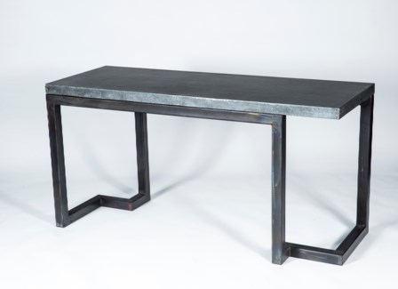 Aiden Console Table  with Hammered Zinc Top