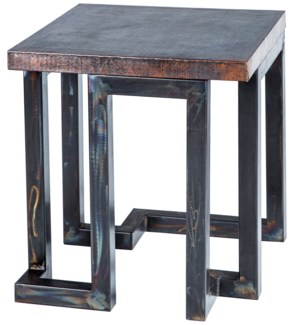 Aiden Side Table with Dark Brown Hammered Copper Top