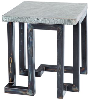 Aiden Side Table with Hammered Zinc Top