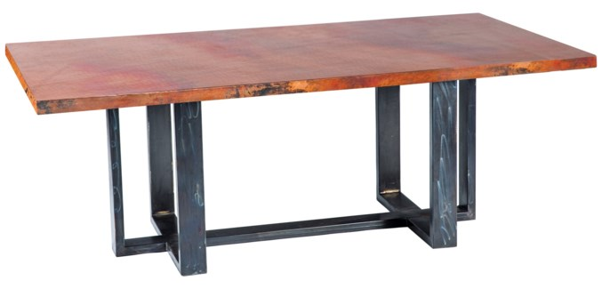 Milo Rectangle Dining Table with Rectangle Natural Hammered Copper Top