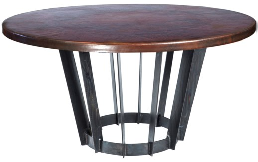 "Dexter Dining Table with 48"" Round Dark Brown Hammered Copper Top"