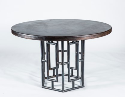 "Hudson Dining Table with 48"" Round Dark Brown Hammered Copper Top"