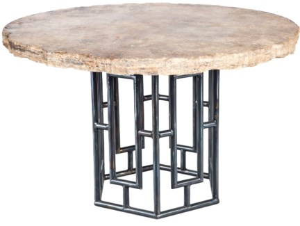 "Hudson Dining Table with 48"" Round Live Edge Marble Top"