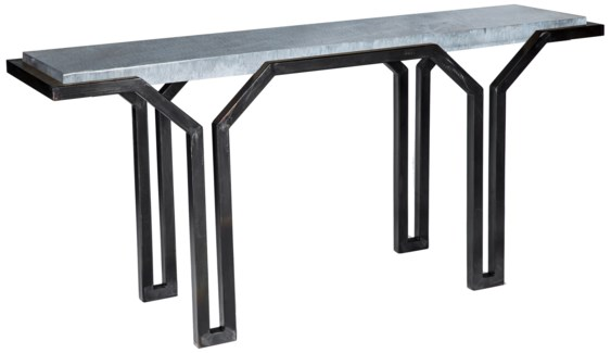 Mason Console Table with Hammered Zinc Top