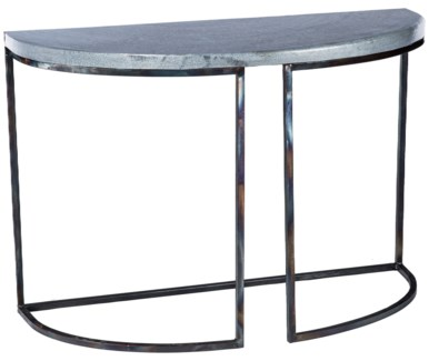Lincoln Demi Lune Table with Hammered Zinc Top